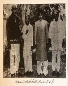 (دوسری تصویر فیض احمد فیض،  علامہ رشید ترابی، مجنون گور کھپوری اور زیڈ اے بخاری