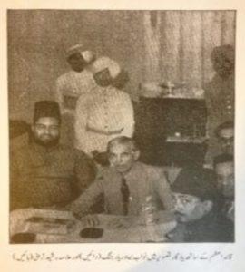 (پہلی تصویر)قائد اعظم کے ساتھ ملاقات  تصویر میں بائیں جانب، علامہ رشید ترابی